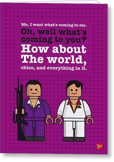 My Scarface Lego Dialogue Poster Greeting Card