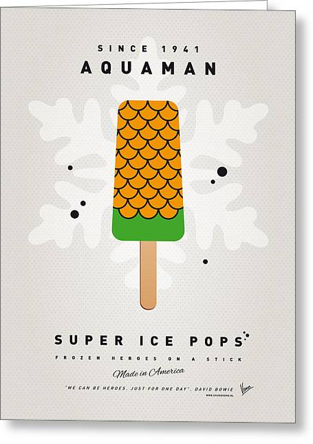 My Superhero Ice Pop - Aquaman Greeting Card by Chungkong Art