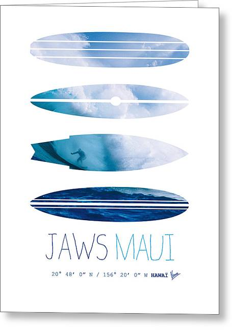 My Surfspots Poster-1-jaws-maui Greeting Card by Chungkong Art