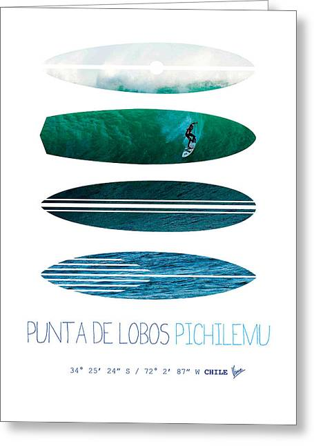 My Surfspots Poster-3-punta De Lobos-chile Greeting Card by Chungkong Art