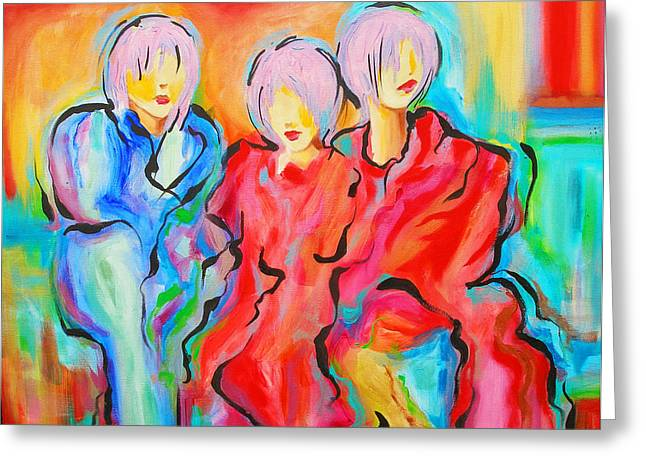 My Three Muses Greeting Card by Susi Franco