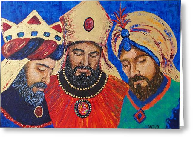My Three Wise Kings Greeting Card by Yamelin Gonzalez-Ortiz
