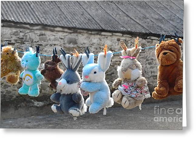 Toys On Washing Line Greeting Card by Nina Ficur Feenan