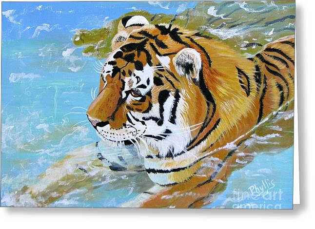 My Water Tiger Greeting Card by Phyllis Kaltenbach