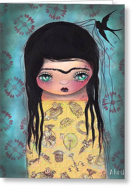 My Yellow Dress Greeting Card by  Abril Andrade Griffith