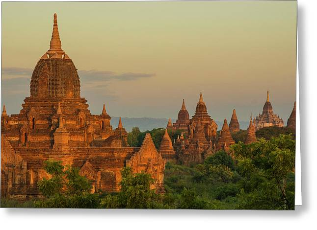 Myanmar Bagan Sunrise Over The Temples Greeting Card by Inger Hogstrom