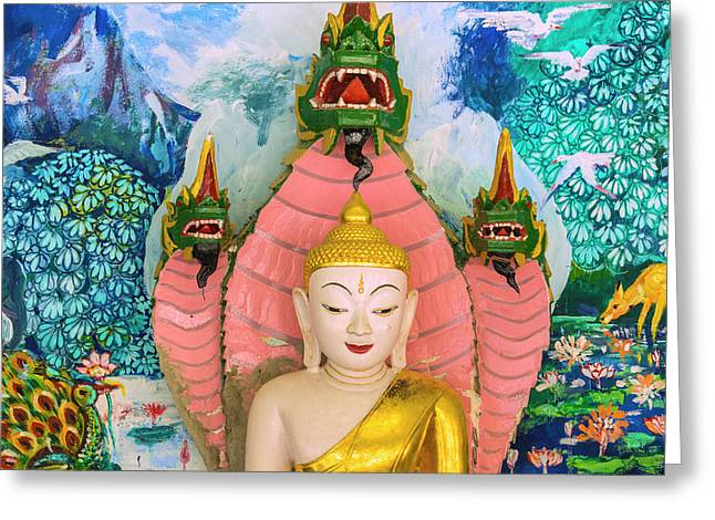 Myanmar Mandalay Sagaing Hill Soon U Greeting Card by Inger Hogstrom