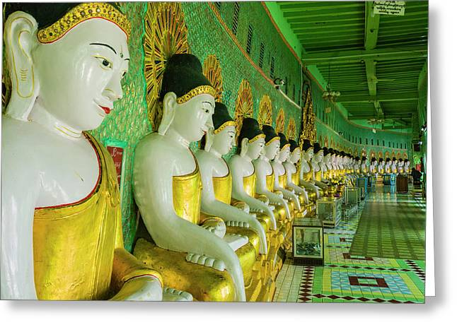 Myanmar Mandalay Sagaing Hill U Min Greeting Card by Inger Hogstrom