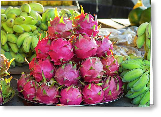Myanmar Mt Popa Dragon Fruit For Sale Greeting Card