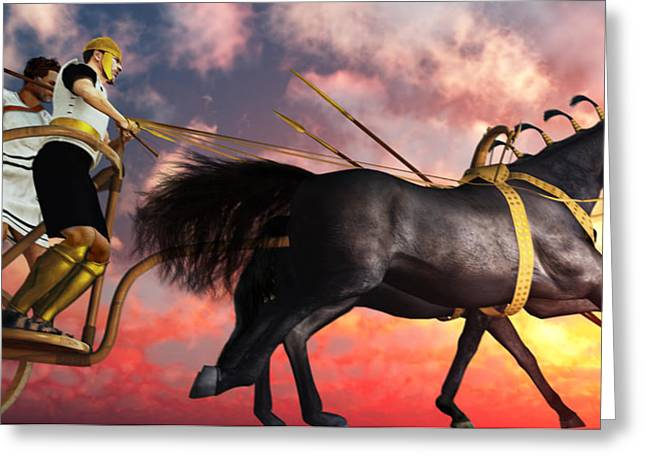 Mycenaean Assault With Rail Chariot Greeting Card