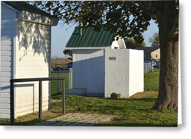 Boys Outhouse Greeting Card
