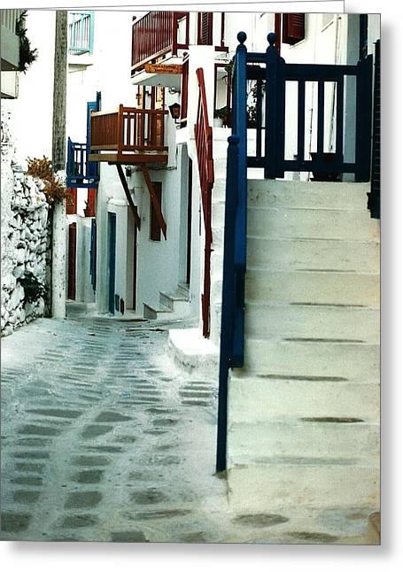 Mykonos Charm Greeting Card by Jacqueline M Lewis