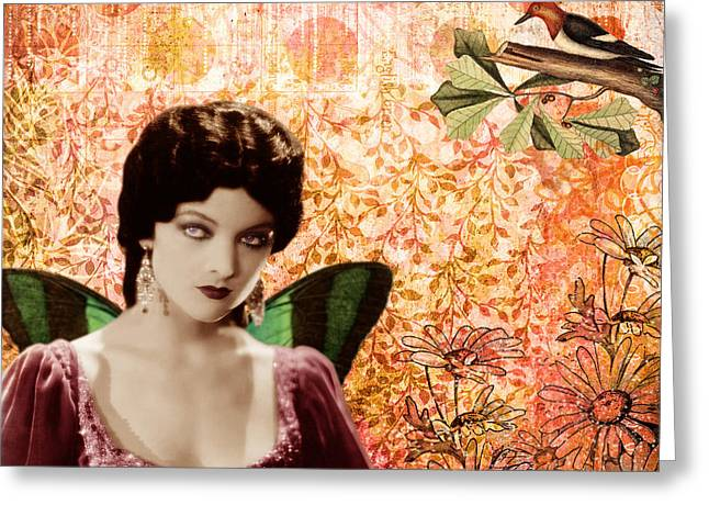 Myrna Loy And The Bird Greeting Card