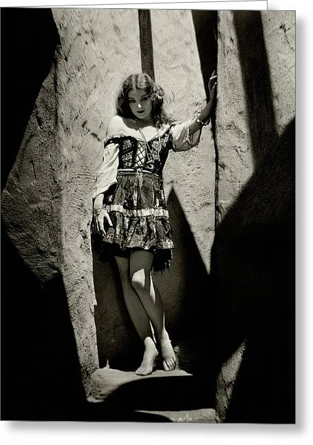 Myrna Loy In A Cave Greeting Card by Nicholas Muray