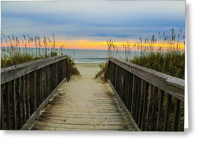 Myrtle Beach Morning Walk  Greeting Card by Donald Hovis Jr