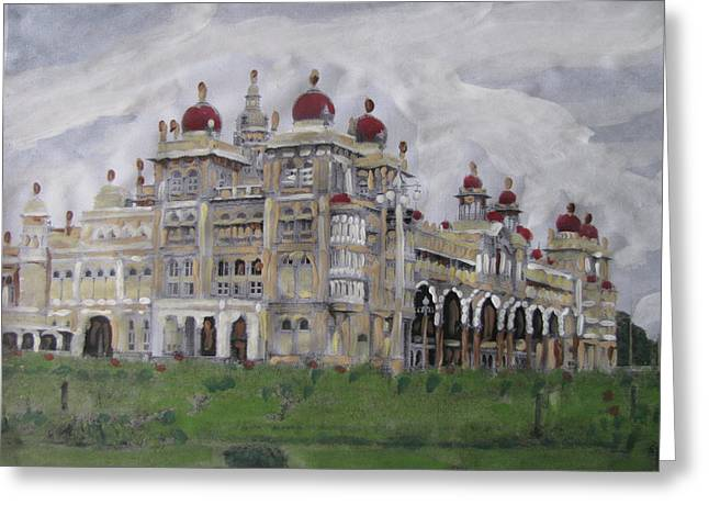 Greeting Card featuring the painting Mysore Palace by Vikram Singh