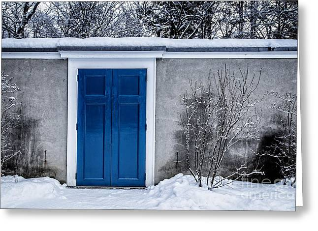 Mysterious Blue Door On Wall Greeting Card by Edward Fielding