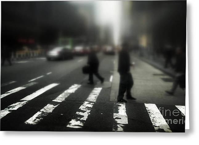 Mysterious Business Men In New York City Crosswalk Greeting Card