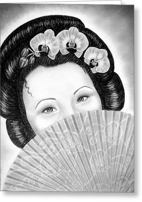 Mysterious - Geisha Girl With Orchids And Fan Greeting Card by Nicole I Hamilton