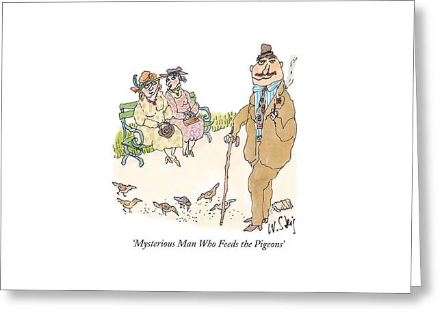 'mysterious Man Who Feeds The Pigeons' Greeting Card by William Steig