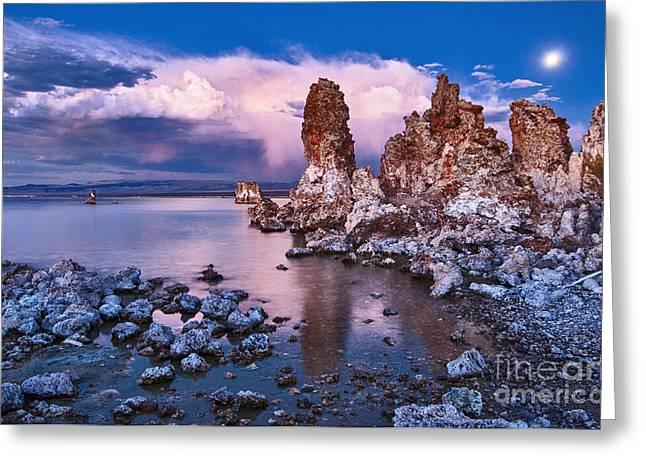 Mysterious Mono - Moonrise Night View Of The Strange Tufa Towers Of Mono Lake. Greeting Card by Jamie Pham
