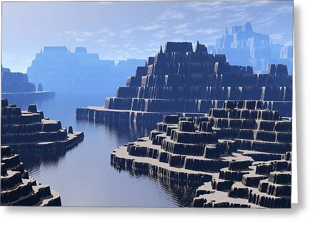 Mysterious Terraced Mountains Greeting Card by Phil Perkins