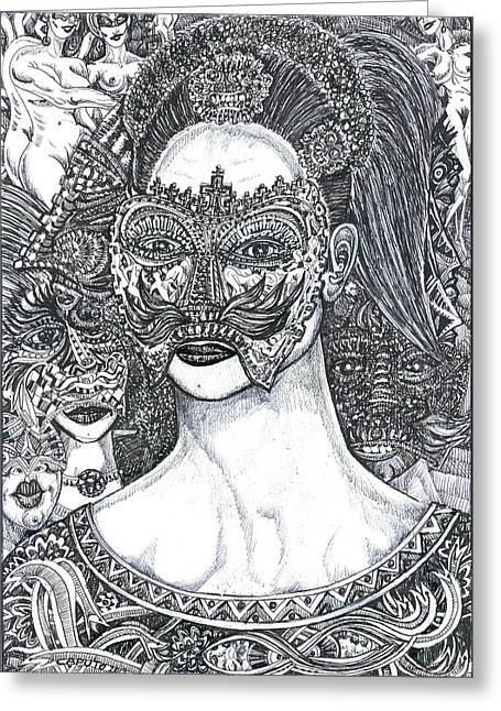 Greeting Card featuring the mixed media Mystery Girl by Giovanni Caputo
