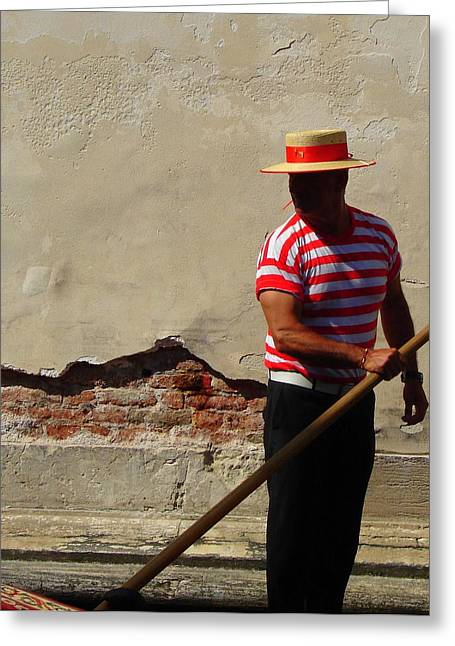 Greeting Card featuring the photograph Mystery Gondolier by Ramona Johnston