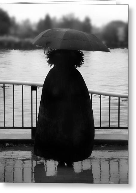 Black And White Greeting Card featuring the photograph Lady At The Lake by Aaron Berg