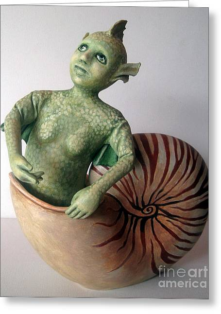 Mystery Of The Nautilus - Figurative Sculpture Greeting Card by Linda Apple