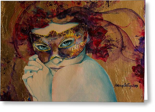 Mystery Roses Greeting Card by Dorina  Costras