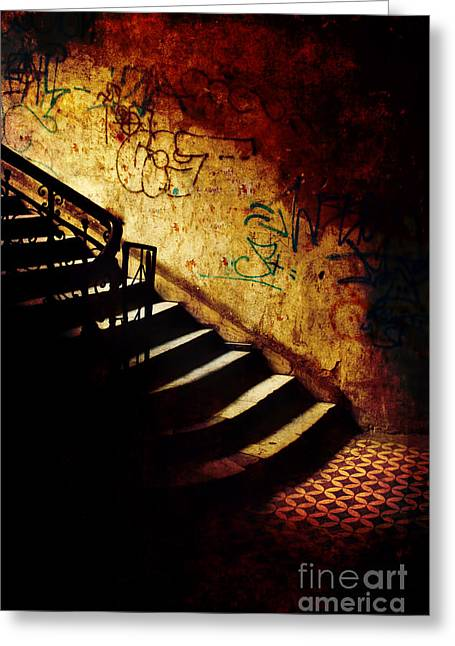 Mystery Stairs And Walls With Writings Greeting Card by Jaroslaw Blaminsky