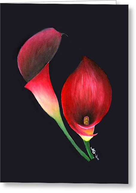Mystic Calla Lillies Greeting Card by Mary Gaines