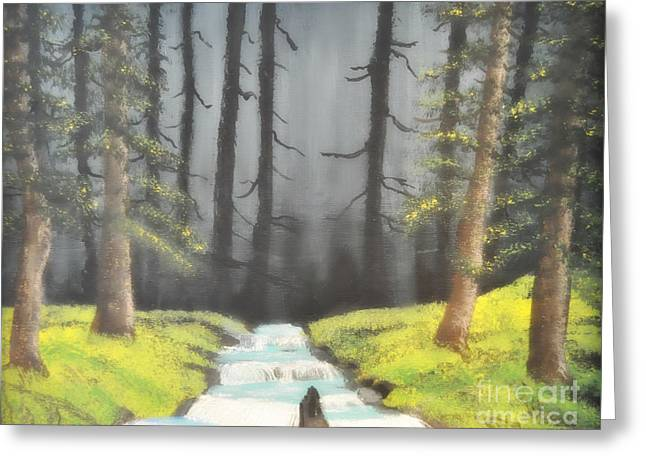 Greeting Card featuring the painting Mystic Forest by Mindy Bench