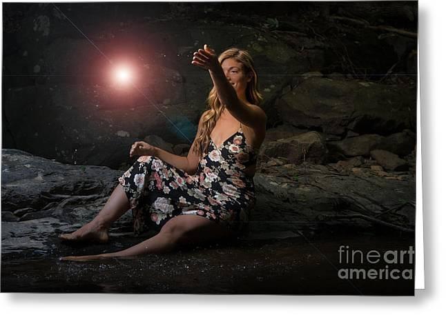 Mystic Light Greeting Card by Ryan Crane