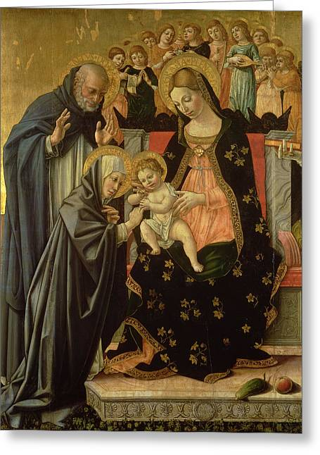 Mystic Marriage Of St. Catherine, Detail Panel Greeting Card by Lorenzo da Sanseverino