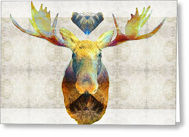 Mystic Moose Art By Sharon Cummings Greeting Card