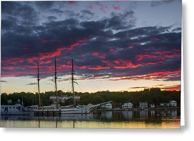 Mystic River Burning Sunset Greeting Card
