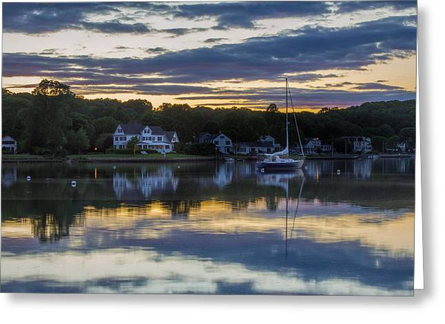 Mystic River Sunset Reflection Greeting Card