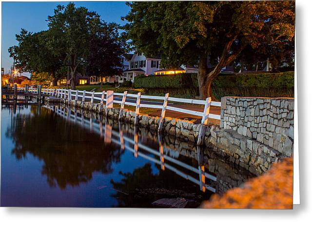 Mystic River Wall Reflection Greeting Card