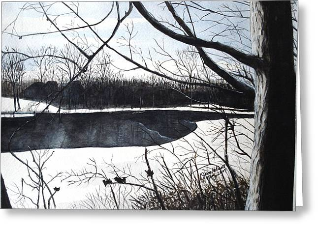 Mystic River - Winter Remnants Greeting Card by June Holwell