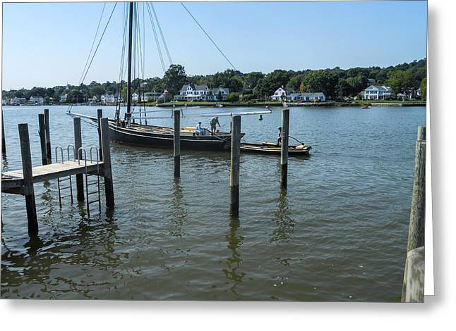 Mystic Seaport Changing Slips Greeting Card by JG Thompson