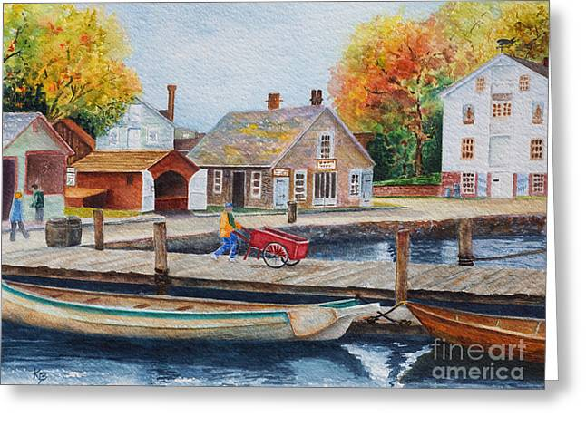 Greeting Card featuring the painting Mystic Seaport by Karen Fleschler