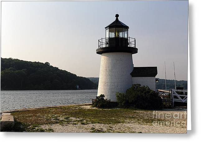Mystic Seaport Light Greeting Card by George Oze