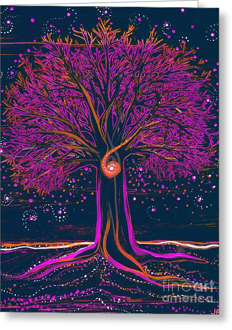 Mystic Spiral Tree 1 Pink By Jrr Greeting Card by First Star Art