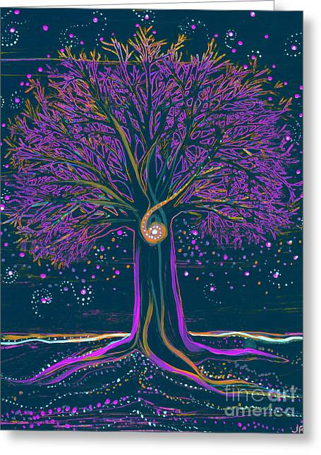 Mystic Spiral Tree 1 Purple Greeting Card