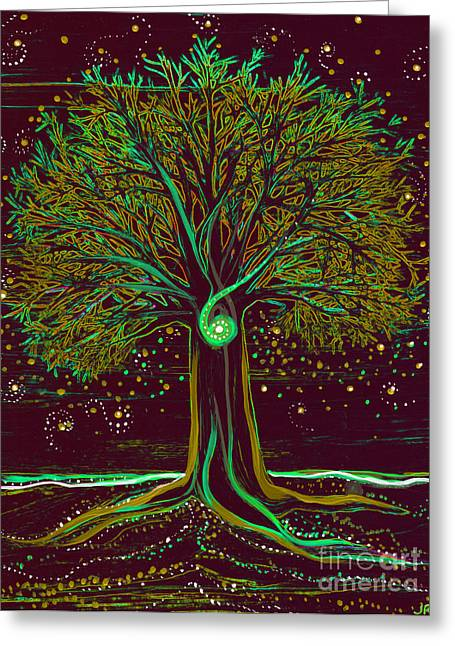 Mystic Spiral Tree  Green By Jrr Greeting Card