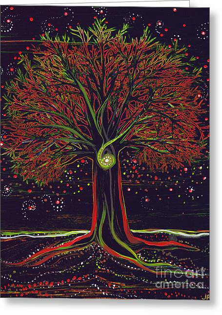 Mystic Spiral Tree Red By Jrr Greeting Card by First Star Art