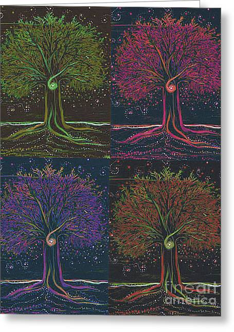 Mystic Spiral Tree X 4 By Jrr Greeting Card by First Star Art