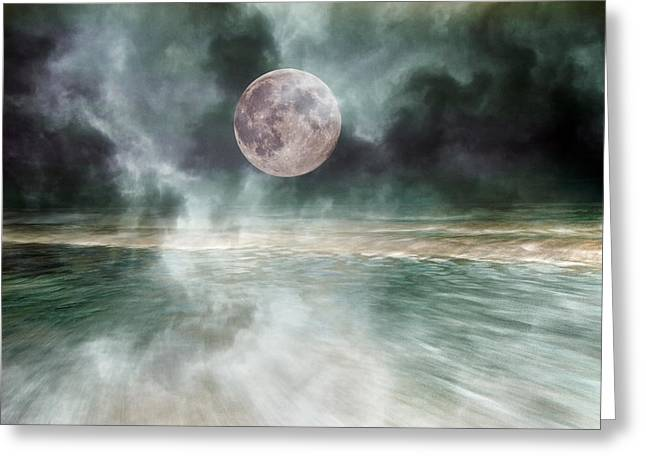 Mystical Beach Moon Greeting Card by Betsy Knapp